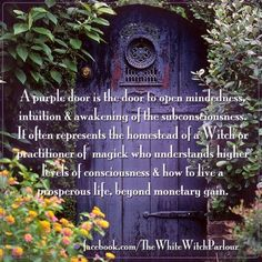 Grimoire, Spell, Herbs and Book of Shadows Pages, Practical Magic; The Cackling Cauldron ~ Book of Shadows: spell set 5 Purple Front Doors, Purple Door, Witch Cottage, Witch House, Gothic Home, White Witch, Just Dream, Book Of Shadows, Third Eye