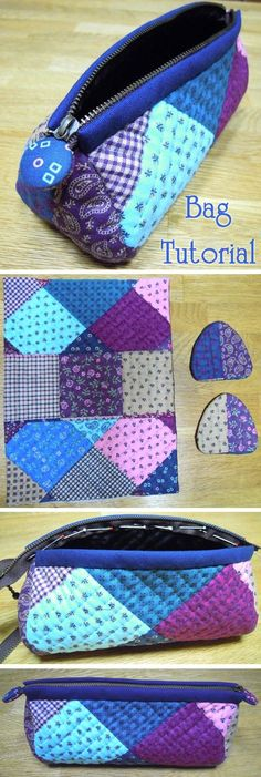 Quilted patchwork zipper pouch, cosmetic bag, pencil case. DIY Photo Tutorial.   http://www.handmadiya.com/2015/10/patchwork-quilted-cosmetic-bag.html