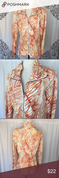 🆕Listing! ✨Chico's Jacket✨ Chico's lightweight jacket in orange/peachy color. Size 1 (8/10). There is elastic pulls on the inside to be able to cinch in the waist. Pulls are also on the wrists and collar. Chico's Jackets & Coats