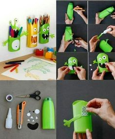 Re-using old plastic shampoo bottles into a pencil holder Kids Crafts, Frog Crafts, Diy And Crafts, Arts And Crafts, Shampoo Bottle Diy, Diy Bottle, Diys, Plastic Bottle Crafts, Craft Tutorials