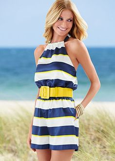 9618b4e25f1 Blue Multi (BLMU) Striped Belted Romper  36 Destined to be a hit at parties