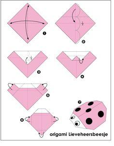 origami lieveheersbeesje vouwen