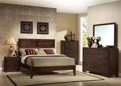 Madison Casual Espresso Wood Panel Master Bedroom Set