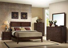 Madison Casual Espresso Wood Panel Master Bedroom Set
