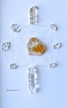MANIFEST LUCK PROSPERITY  framed sacred crystal grids citrine quartz