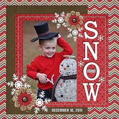 Snowman Layout ~ MANY CHRISTMAS LAYOUTS AT: http://www.pinterest.com/carolesklenar/scrapbooking-christmas/