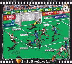 Valencia CF, 2 - Real Valladolid, 2 ; 2-2, Feghouli, 76'