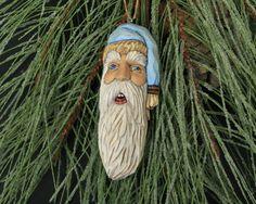 Hand Carved Santa Ornament Wood Sculpture One by TurtleMtnArtistry