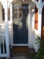 Six Light Door Front Door With Real Leaded Stained Glass Painted Grey Accoya Front Door And External Doors Bespoke period wooden,Victorian Edwardian and Georgian style Front doors and Sash windows,Supplied and fitted across London and the home counties Best Front Doors, Wooden Front Doors, 1930s Porch, Brick Porch, Front Porch, 1920s House, Tudor Style Homes, Stained Glass Paint, Cottage Exterior