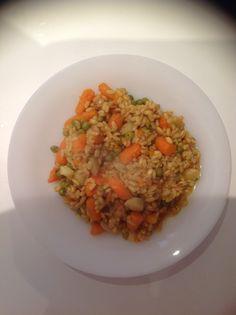 Riso al curry con piselli e carote. Lunch for breakfast - Good morning!!