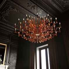 The design of this chandelier was inspired by a male body shape - strong and determined - which makes it ideal for loft and industrial spaces. Its construction is variable, enabling a horizontal or vertical silhouette. Designed by Rony Plesl. #lighting #interior #design #collections #plesl #craftsmanship #bohemian #glass #history #mariatheresa #chandelier
