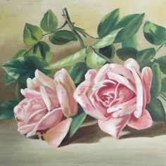 Victorian OIL Painting on Canvas 3 PINK ROSES Orig Gilt Wood Frame * Patty Thum