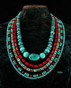 Turquoise Multistrand Necklace – Ethnic Jewelry – Chunky Beaded Necklace – Southwestern – Southwest – Statement Necklace – Beadwork Source by Ethnic Jewelry, Indian Jewelry, Beaded Jewelry, Handmade Jewelry, Beaded Necklaces, Beaded Bracelet, Cuff Bracelets, Multi Strand Necklace, Diy Necklace
