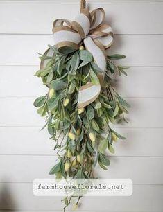 Lambs Ear Greenery Teardrop Swag Wreaths For Front Door, Door Wreaths, Seasonal Decor, Holiday Decor, Christmas Decor, Door Swag, Lambs Ear, Simple Baby Shower, Artificial Flowers