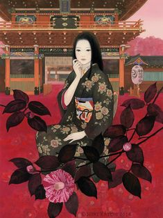 Les sublimes femmes et kimonos de l'artiste japonaise Miki Katoh Japanese Art Styles, Japanese Art Modern, Japanese Drawings, Japanese Tattoo Designs, Japanese Aesthetic, Japanese Artists, Japon Illustration, Illustration Art Drawing, Illustrations