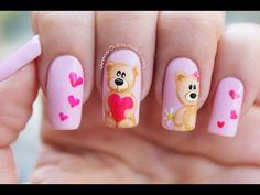 Decoración de uñas Osos - Bear nail art - YouTube Nail Art Designs Videos, Best Nail Art Designs, Pretty Nail Art, Cool Nail Art, Funky Nails, Love Nails, Seasonal Nails, Arte Floral, Creative Nails