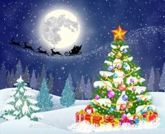 background of night sky with christmas tree and gift boxes,moon and the silhouette of Santa Claus flying on a sleigh pulled by reindeer. concept for greeting or postal card, vector illustration Cartoon Christmas Tree, Christmas Tree With Gifts, Christmas Tree Farm, Christmas Drawing, Christmas Wishes, Christmas Time, Merry Christmas, Xmas, Holiday