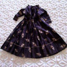 Antique Indigo Blue Calico Doll Dress Crazy Quilt Embroidery~Turkey tracks Wow~ | eBay