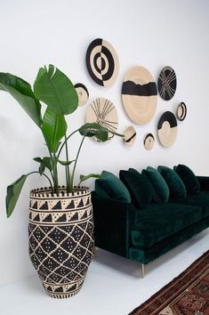 Palm pot // These Brands Make the Most Beautiful, Ethical, & Eco Home Decor Boho Living Room, Living Room Decor, Bohemian Living, Decor Room, Wall Decor, African Living Rooms, African Themed Living Room, African Bedroom, African Interior Design