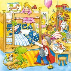 Puzzle Môj deň - Detská izba Puzzles, Painting, Image, Desserts, Home, Social Skills, Gross Motor, Girls Toys, Index Cards