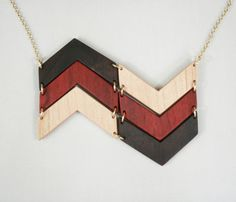 Natural Wood Chevron Necklace  by The Knotty Owl
