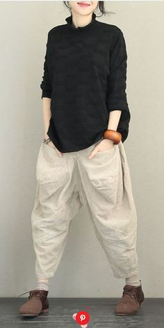 Loose High Neck Casual Sweater Women Fashion Tops in 2020 Linen Pants Women, Pants For Women, Clothes For Women, Black Women Fashion, Latest Fashion For Women, Womens Fashion, Mode Outfits, Casual Outfits, Fashion Outfits