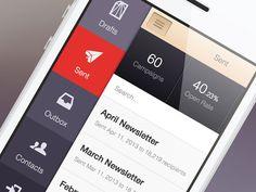 CakeMail #Mobile – Menu -  Via http://www.themangomedia.com/blog/gorgeous-user-interface-design-inspiration/ @teammangomedia