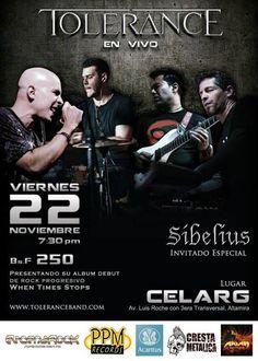 """Cresta Metálica Producciones » CELARG PRESENTA: """"TOLERANCE EN VIVO"""" INVITADO ESPECIAL """"SIBELIUS"""" (CARACAS) // 22-11-2012"""