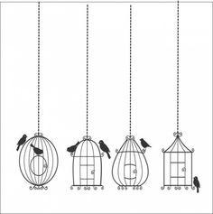 Adesivo Decorativo de Parede – C096 – Gaiola Estilizada | COLA design - Adesivos…