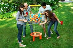 TOH's Team Saturday shows you how to entertain friends with a yard-size version of this ball-drop game, made from wire fencing and plant stakes
