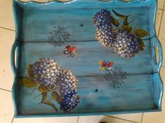 Discover thousands of images about love this tray Wood Crafts, Diy And Crafts, Pallet Tray, Decoupage Tutorial, Chic Wallpaper, Painted Trays, Turkish Art, Pintura Country, Art N Craft