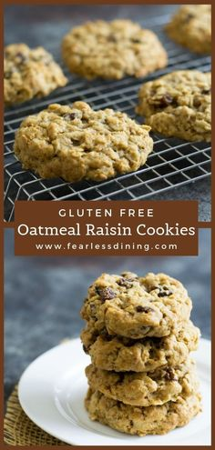 Gluten free oatmeal raisin cookies are the perfect snack. Full of raisins and brown sugar goodness, these gluten free cookies are so easy to make. Use rolled oats, be sure to use gluten free if you are gluten free! fearlessdining.com Dairy Free Oatmeal Raisin Cookies, Soft Chewy Oatmeal Cookies, Sugar Free Oatmeal, Gluten Free Oatmeal, Oatmeal Cookie Recipes, Cookies Gluten Free, Best Gluten Free Desserts, Gluten Free Cookie Recipes, Sugar Free Cookies