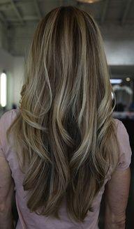 Like this cut for long hair/Highlights enhance the cut