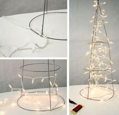 Deco Mesh Christmas Tree made with a Tomato Cage by Abundance
