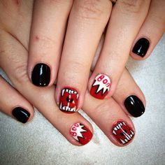 Manicure for Halloween 2015 #halloween #halloween_nails #halloween_manicure #nails #manicure #black #red #black_nails #red_nails #comics #comics_nails #scary_nails #scary #scary_manicure