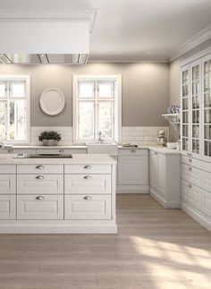 Kitchen ideas white cabinets grey walls doors 70 ideas for 2019 White Kitchen Cabinets, Kitchen Tiles, New Kitchen, Kitchen Decor, Kitchen Grey, Glass Cabinets, Upper Cabinets, White Kitchen Wall Ideas, Kitchen With Grey Walls