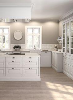 Kitchen ideas white cabinets grey walls doors 70 ideas for 2019 White Kitchen Cabinets, Kitchen Tiles, New Kitchen, Kitchen Decor, Kitchen Grey, Glass Cabinets, Decorating Kitchen, Upper Cabinets, Kitchen With Grey Walls