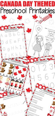 Keep the kids busy, and learning, with this fun Canada Day preschool learning package. It's filled with 23 educational pages for preschool to kindergarten! Printable Activities For Kids, Preschool Printables, Preschool Crafts, Fun Activities, Free Printables, Kids Crafts, Preschool Learning, Kindergarten Activities, Canada For Kids