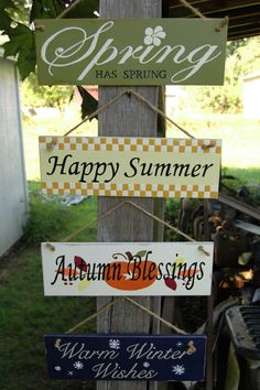 Spring Summer Autumn Winter wood sign set....I love this...wish I was talented enough to paint one.