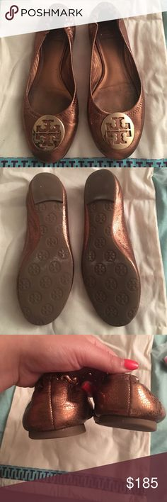 Bronze & gold Tory Burch Reva Flats 7.5 EUC worn a couple times Tory Burch Shoes Flats & Loafers
