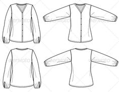 Fashion Flat Sketches for Womens Silk Blouse