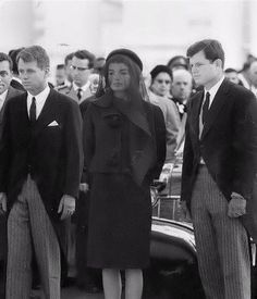 1963-11-25: Bobby, Jackie and Ted wait for the funeral procession to the cathedral to begin.