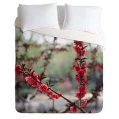 Catherine McDonald Red Peach Blossoms In China Duvet Cover | DENY Designs Home Accessories