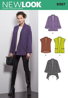 Susanna moden 12/2015 misses' cozy jacket with patch pockets can have a straight or handkerchief hemline. vest can have a straight hem with patch pockets, or a high low without pockets. new look sewing pattern.