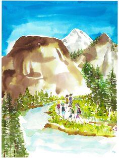 Sujean Rim exploring, travel, back packing What Should I Draw, Favorite Pastime, Cloudy Day, Japanese Prints, Various Artists, Asian Art, Watercolor Art, Inspiring Art, Inspirational