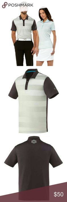 Men's Puma GT Crossfade Polo Along with the graphic linear pattern, this moisture wicking poly knit features PowerCool technology for temperature regulation and provides UV protection.  92% Polyester 8% Elastane Jersey Knit. 166 g,m2 - 4.9 oz,yd2; UV resistant finish, Wicking Finish inherent in yarn. UV protection UPF 40+ Puma Shirts Polos
