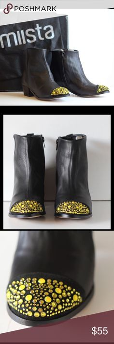 """💝MIISTA💛Rosa Cristal Ankle Boot Black Leather 💝MIISTA, Size 8M, Rosa Cristal Ankle Boots, Black smooth soft leather, crystal embellishment on almond shaped toe cap, side zipper, 1.75"""" stacked leather heel, leather sole & lining, padded insole, pull strap at back heel. Made in SPAIN! Perfect for Any Time of year! $$$ BUNDLE & SAVE $$$ MIISTA Shoes Ankle Boots & Booties"""