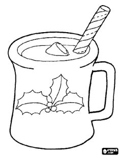 Christmas Mug Or Ceramic Cup Decorated With Holly Leaves Coloring Page