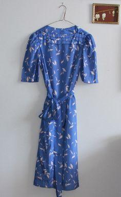 Vintage Sky Blue Floral Print Dress with by OtisAndTheGirl on Etsy, $28.00