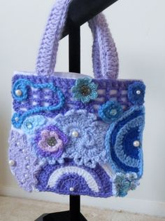 White Embellished Tote Bag with Purples and Blues with a few more beads added.